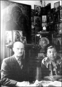 Ivan and Helen Kontzevitch in their icon corner in Paris, 1948