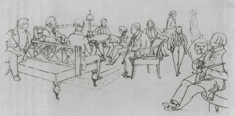 A sketch of the Elagin Salon in Moscow and some of its patrons