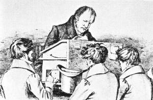 Hegel with students in Berlin, GermanySketch by Franz Kugler, 1828