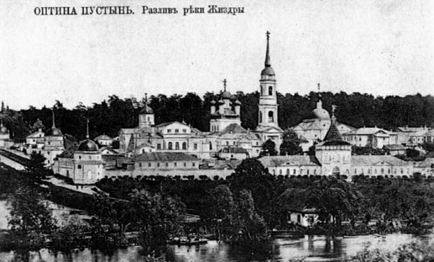 19th century photo of Optina Monastery